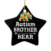 Cute Autism Awareness Brother Bear Ceramic Ornament