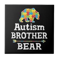 Cute Autism Awareness Brother Bear Ceramic Tile