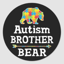 Cute Autism Awareness Brother Bear Classic Round Sticker