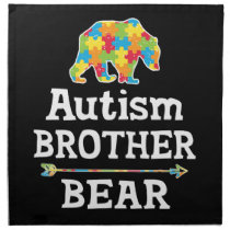 Cute Autism Awareness Brother Bear Cloth Napkin