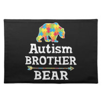 Cute Autism Awareness Brother Bear Cloth Placemat