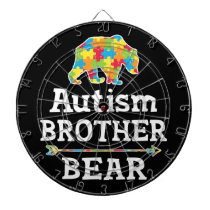 Cute Autism Awareness Brother Bear Dart Board