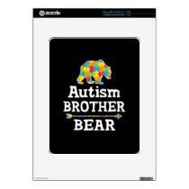 Cute Autism Awareness Brother Bear Decal For iPad