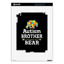 Cute Autism Awareness Brother Bear Decal For iPad 2
