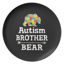 Cute Autism Awareness Brother Bear Dinner Plate