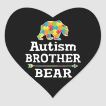 Cute Autism Awareness Brother Bear Heart Sticker