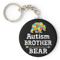Cute Autism Awareness Brother Bear Keychain
