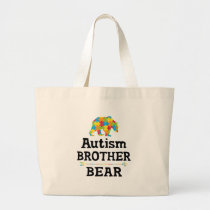 Cute Autism Awareness Brother Bear Large Tote Bag