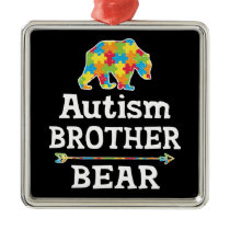 Cute Autism Awareness Brother Bear Metal Ornament