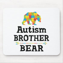 Cute Autism Awareness Brother Bear Mouse Pad