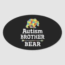Cute Autism Awareness Brother Bear Oval Sticker