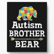 Cute Autism Awareness Brother Bear Plaque