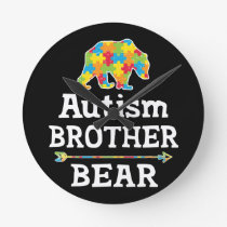 Cute Autism Awareness Brother Bear Round Clock