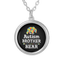 Cute Autism Awareness Brother Bear Silver Plated Necklace