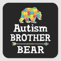 Cute Autism Awareness Brother Bear Square Sticker