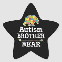 Cute Autism Awareness Brother Bear Star Sticker