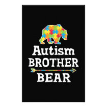 Cute Autism Awareness Brother Bear Stationery