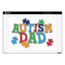 "Cute Autism Dad Autistic Awareness 15"" Laptop Decal"