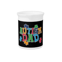 Cute Autism Dad Autistic Awareness Beverage Pitcher