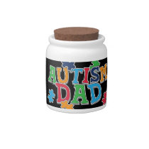 Cute Autism Dad Autistic Awareness Candy Jar