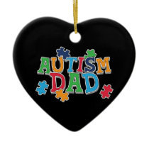 Cute Autism Dad Autistic Awareness Ceramic Ornament