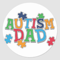 Cute Autism Dad Autistic Awareness Classic Round Sticker