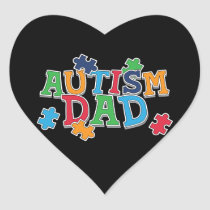 Cute Autism Dad Autistic Awareness Heart Sticker