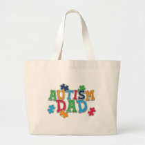 Cute Autism Dad Autistic Awareness Large Tote Bag