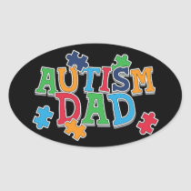 Cute Autism Dad Autistic Awareness Oval Sticker