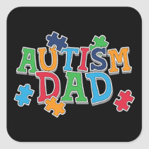 Cute Autism Dad Autistic Awareness Square Sticker