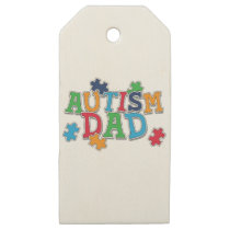 Cute Autism Dad Autistic Awareness Wooden Gift Tags