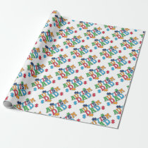 Cute Autism Dad Autistic Awareness Wrapping Paper