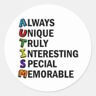 Cute Autism Classic Round Sticker