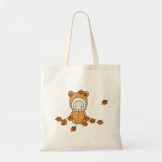 Cute Autumn Baby in Falling Leaves Tote Budget Tote Bag