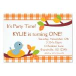 "Cute Autumn Bird Birthday Invitation 5"" X 7"" Invitation Card"