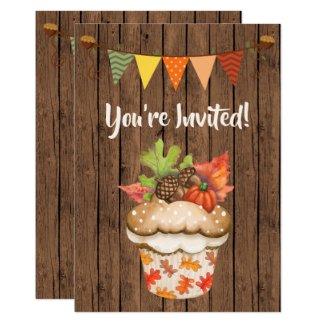Cute Autumn Cupcake and Bunting Fall Birthday Invitation