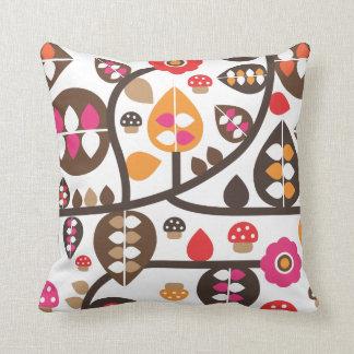 Cute autumn flower leaf toad retro pattern throw pillow