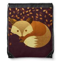 Cute Autumn Fox Drawstring Backpack