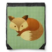 Cute Autumn Fox Drawstring Bag