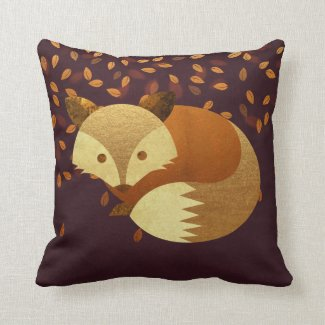 Cute Autumn Fox Throw Pillow