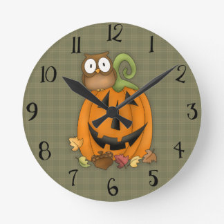 Cute Autumn Jack O' Lantern Clock