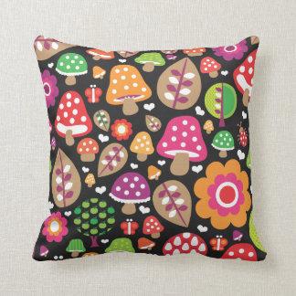 Cute autumn leaf flower butterfly retro pattern throw pillow