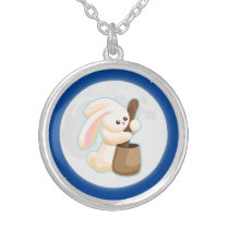 Cute Autumn Moon Bunny Silver Plated Necklace