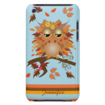 Cute Autumn owl and custom Name Barely There iPod Case