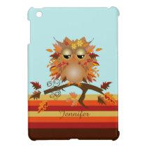 Cute Autumn owl and custom Name iPad Mini Case