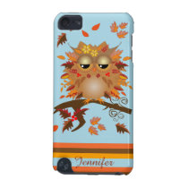 Cute Autumn owl and custom Name iPod Touch 5G Cover