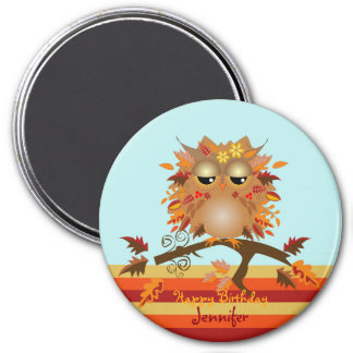 Cute Autumn owl and custom Name / text 3 Inch Round Magnet