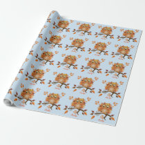 Cute Autumn Owl & custom Name Wrapping Paper