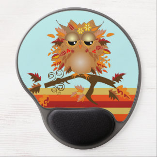 Cute Autumn owl on a branch Gel Mouse Pad