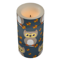 Cute Autumn Owl Pattern Flameless Candle